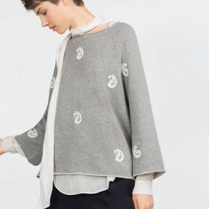 Zara Grey Paisley Embroidered Top Small